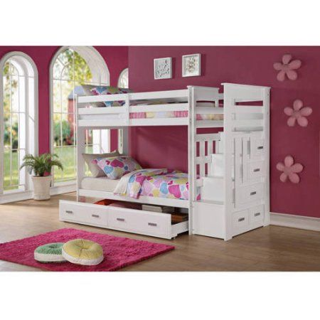 Buy ACME Furniture Allentown Twin Over Twin Wood Bunk Bed, White at ...