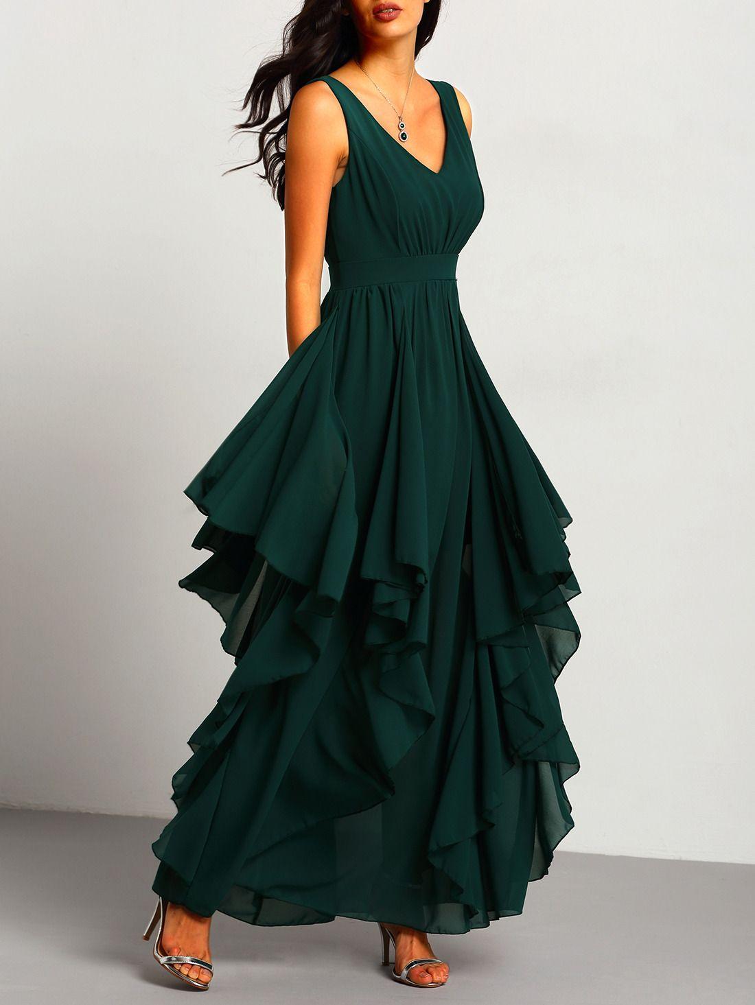 Shop Green Deep V Neck Maxi Chiffon Dress online. SheIn offers