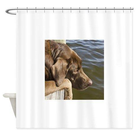 Chocolate Labrador Shower Curtain On CafePress.com