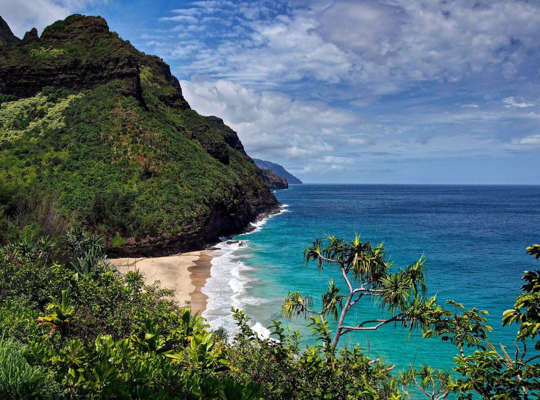 Hanakapiai Beach Na Pali Coast Kauai Hawaii Desktop