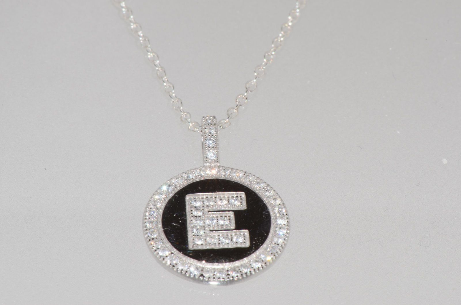 Initial pendant necklace sterling silver letter e cubic zirconia