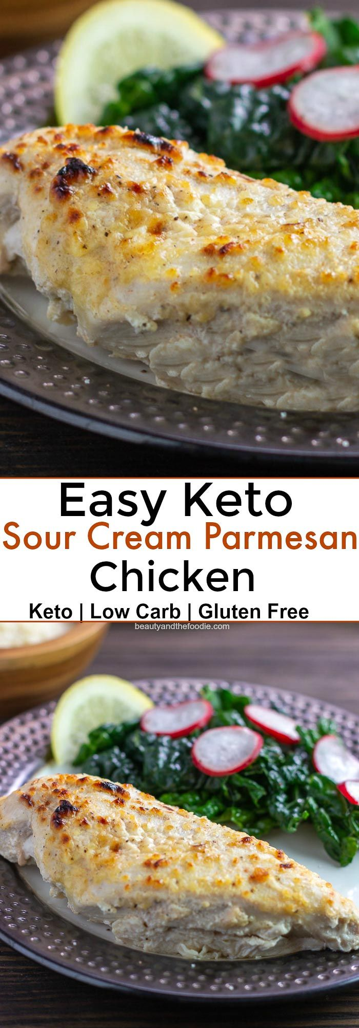 Keto Sour Cream Parmesan Chicken Beauty And The Foodie Chicken Parmesan Recipes Recipes Sour Cream Chicken