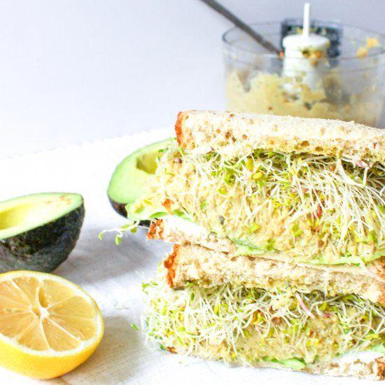 Vegetarian Green Goddess Sandwich with Chickpea Avocado Mash, Goat Cheese, and Pesto Mayo