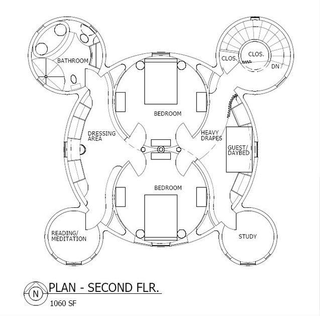 Yin Yang Plan upper level: As shown, the plan encompasses