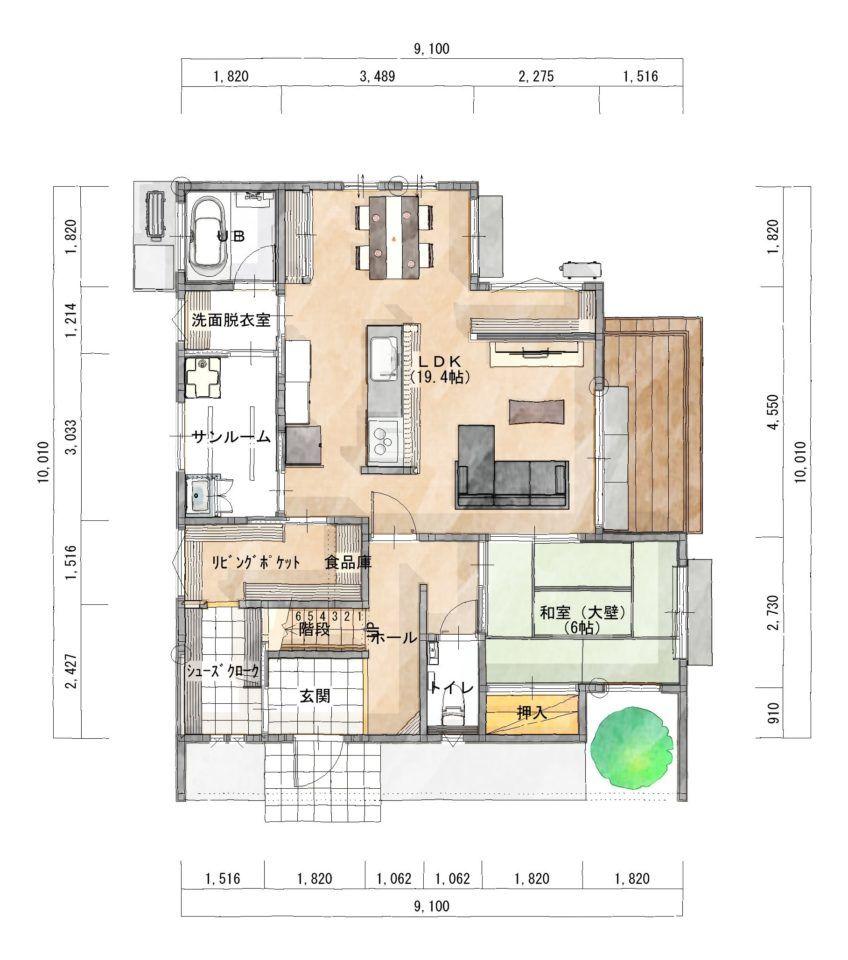 家の中心にキッチンがある家 家の間取り 住宅 間取り フロアプラン