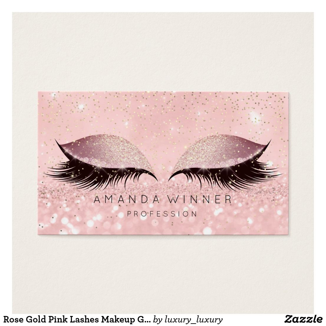Rose gold pink lashes makeup glitter makeup business card makeup business cards glitter for Eyelash extension business cards