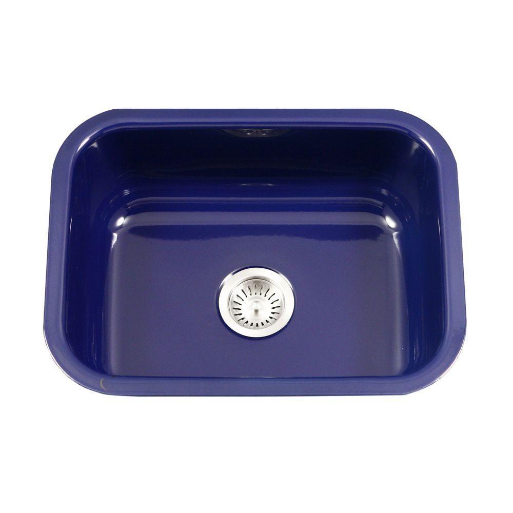 Houzer Porcela Series Undermount Porcelain Enamel Steel 23 In Single Bowl Kitchen Sink In Navy Blue Pcs 2500 Nb Single Bowl Kitchen Sink Sink Porcelain