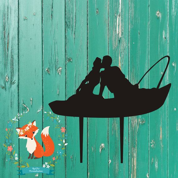 Couple Kissing On A Boat Wedding Cake Topper Fishing