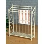 Antique white finish metal X/O Towel / blanket rack stand - A.M.B. Furniture & Design