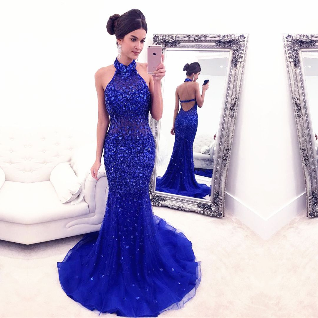 Luxury Crystal Prom Dress,Sexy Halter Prom Dresses,Sleeveless Tulle ...