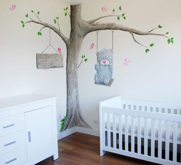 Muurschildering van een boom met het me to you beertje voor in de babykamer van een meisje de - Kinderzimmermobel baby ...