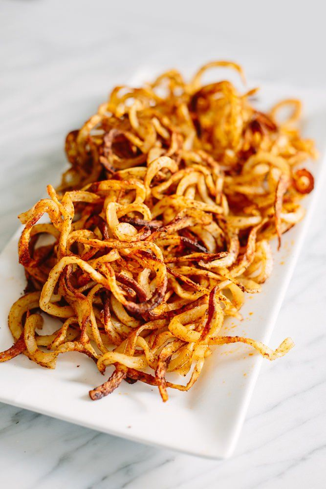 Crispy Baked Spiralized Fries Recipe Air Fryer Recipes Fries Recipe Spiralizer Recipes