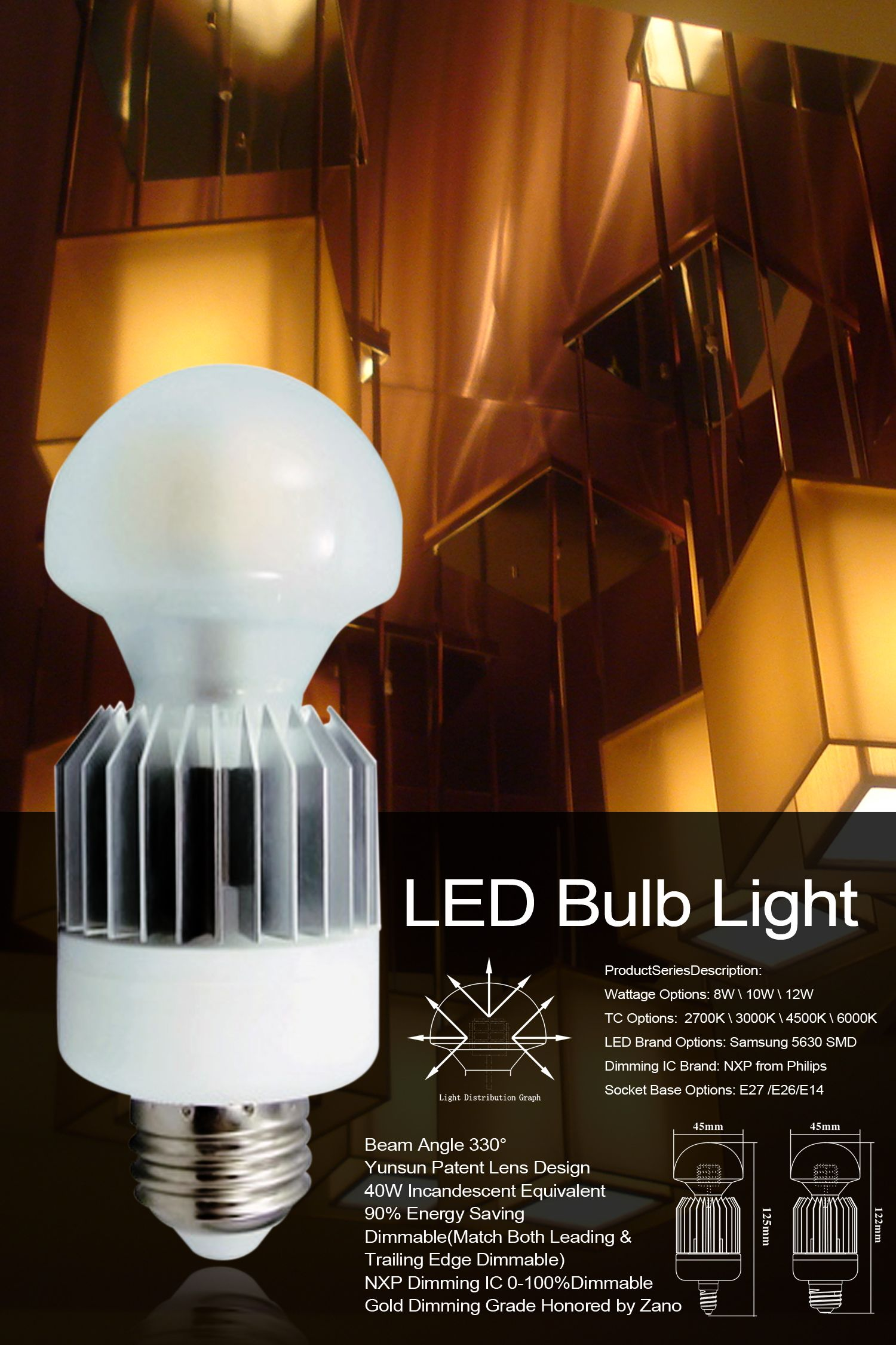 Cri Can Be Up To 95 Nearly The Same As Conventional Incandescent Bulb 0 100 Smoothly Dimmable And Match Both Leading And Trailing Ed Led Bulb Fan Light Bulb