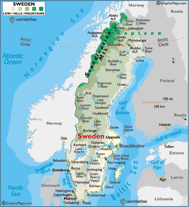 Sweden large color map | the world in 2019 | Sweden map, Sweden, Map