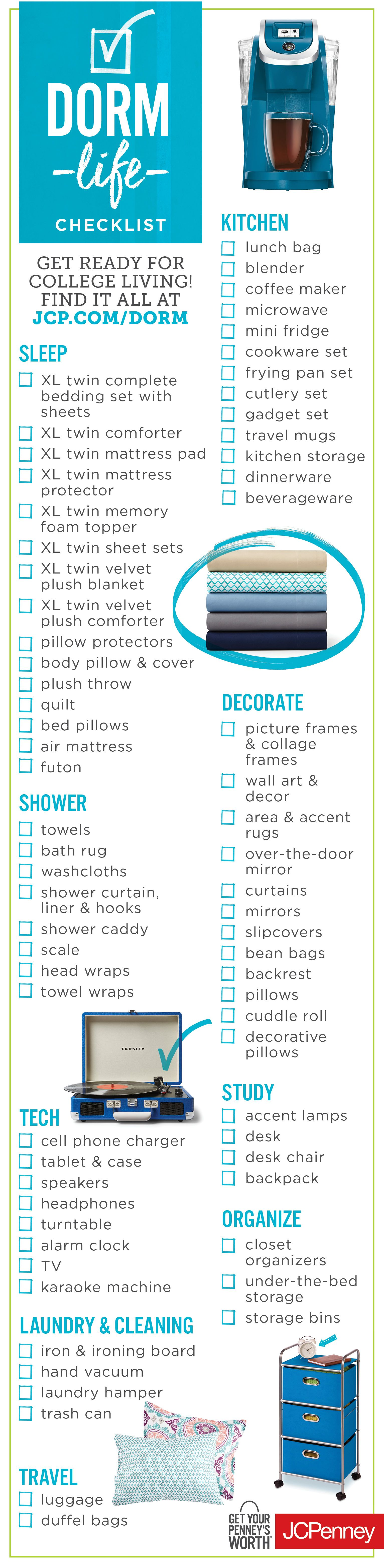 College dorm checklist for suite style dorm living College