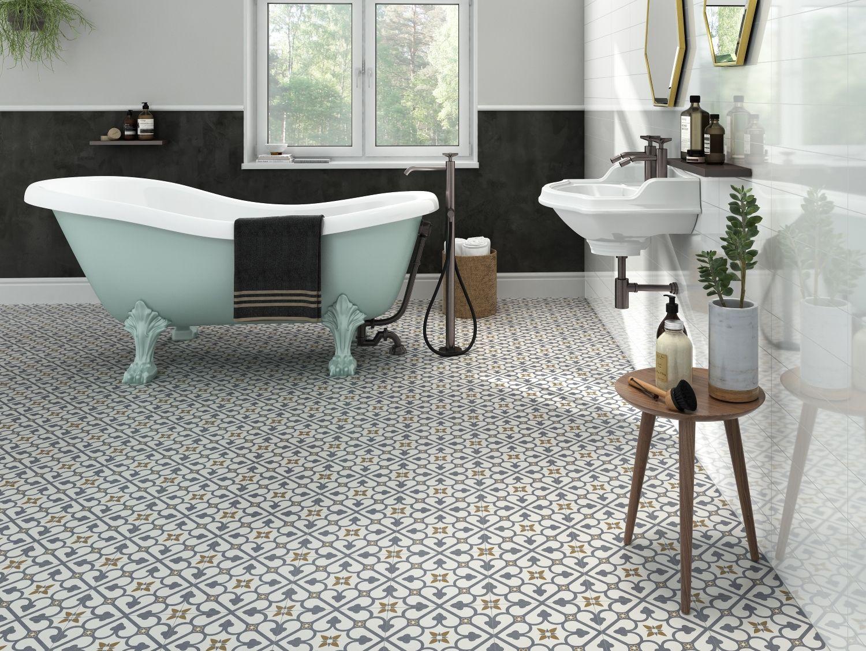 Brighton Blue Pattern Porcelain Floor Tiles Patterned Floor Tiles Tile Floor Porcelain Flooring
