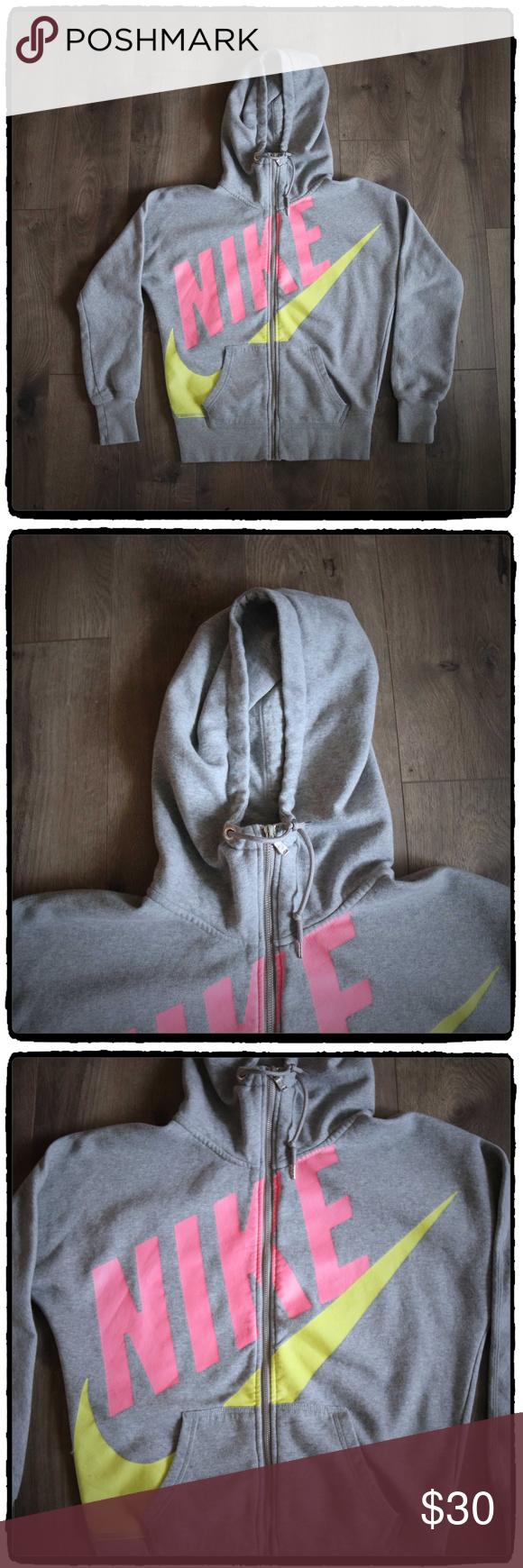 Nike Full Zip Hooded Jacket Spell Out Logo Swoosh Hooded
