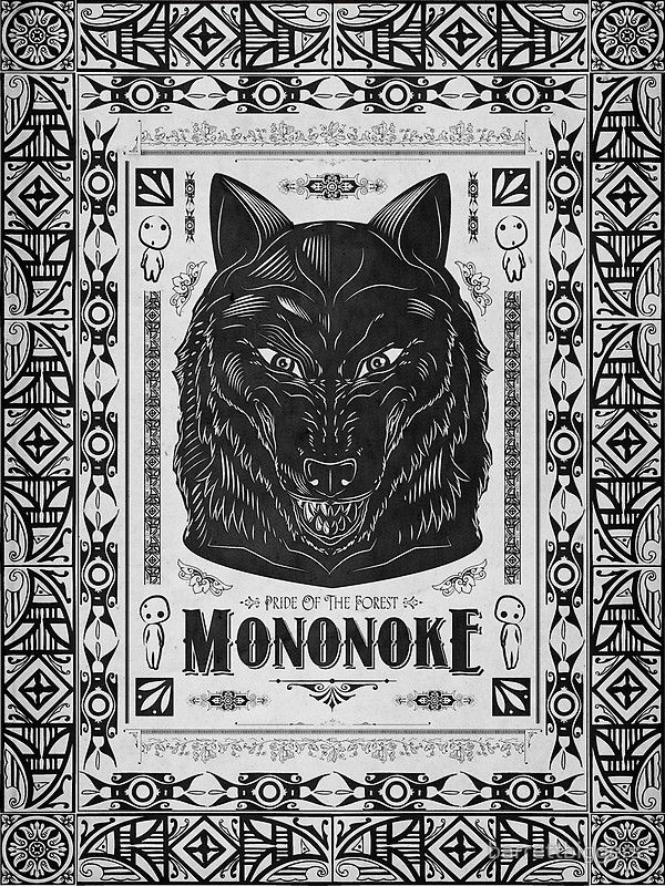 PRIDE OF THE FOREST WOLF MONONOKE GEEK LINE ARTLY iphone case
