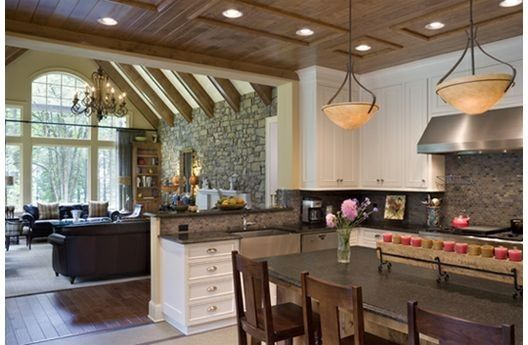 Open Kitchen Floor Plans beams in living room and open kitchen. transitions for floor and