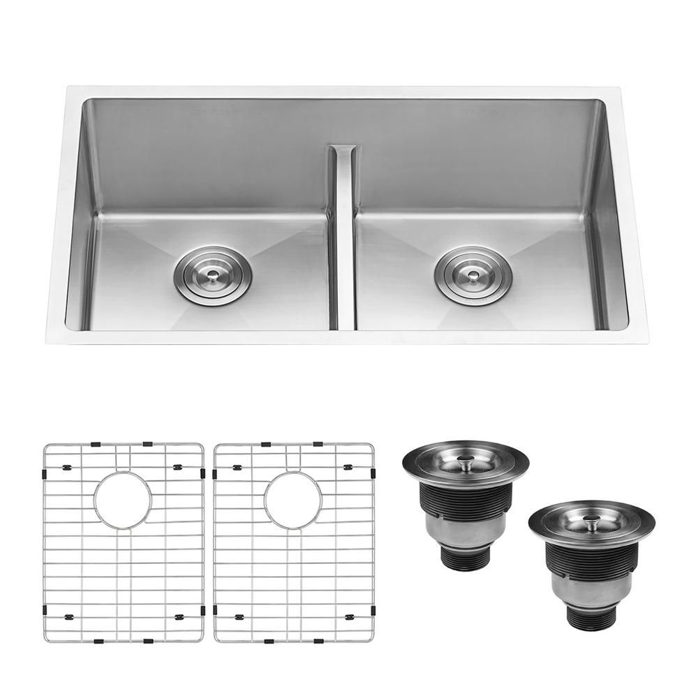 Ruvati Undermount Stainless Steel 30 In 50 50 Low Divide Double Bowl 16 Gauge Kitchen Sink Brushed Stainless Steel Sink Stainless Steel Kitchen Double Bowl Kitchen Sink