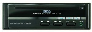 "BOSS BV2250 Universal Mount Car Audio In-Dash DVD Player by BOSS. $69.99. Boss Audio Bv2250 Mobile Dvd Player Plays Mp3, Dvd, Cd-R, Cd-Rw & Sdvd;Anti-Shock Mechanism;Last-Position Memory; Ntsc/Pal Compatible;Aux A/V Input On Front Panel;In-Dash Mounting Kit & Brackets; Cigarette Lighter Power Cord;Remote Infrared Eye; Wireless Remote; Dim: Dim: 6.312"" X 6.187"" X 2"" Mobile Dvd Player"