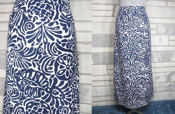 Vintage Skirt, 60s, Maxi, Navy Blue, White, Bold Print, Fitted Waist, Belt Loops, Side Zipper, Leg Slit, Small, Medium. $35.00, via Etsy.