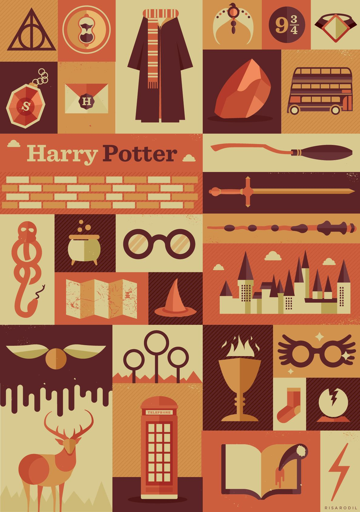 Harry Potter Items Poster | Available inRedbubbleandSociety6 I felt really nostalgic doing this poster, but it was a lot of fun!If you want to see my previous posters like this, check here: Supernatural | WTNV | Sherlock