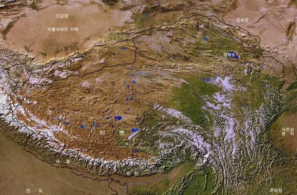 Map of Tibetan Plateaux Satellite Image