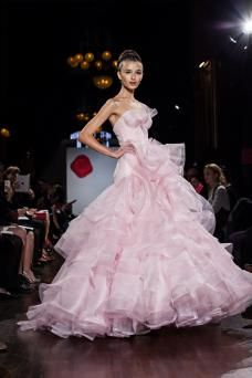 """AS18 """"Azalea"""" Strapless silk organza and horsehair ballgown with bustier bodice, low drop waist, and tiered ruffle skirt. Available in Blush as sampled, Ivory, and White."""