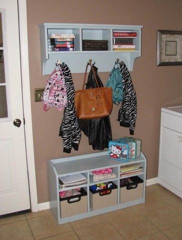 Beau Decorations:Custom Small Entryway Bench Shelf Storage With Brown Wall Paint  And Coat Hooks Decor Ideas Coat Hooks With Storage Baskets To Organize Your  ...