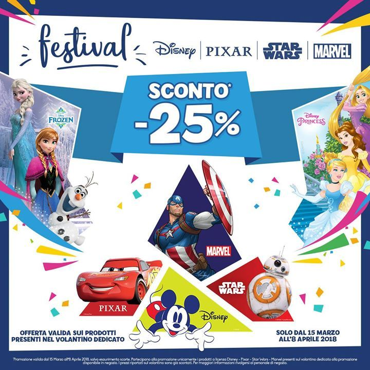 Festival Disney Pixar Star Wars Marvel Sconto 25