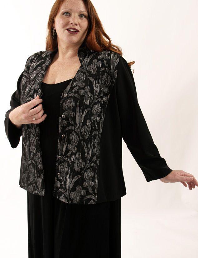 Plus Size Designer Mandarin Jacket Gaultier Orchids Black Silver