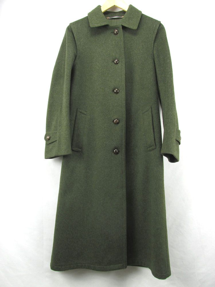 e0c92bedd127e Burberry s Loden Green Wool Long Coat Women s US 4 EU 34 Made in Austria  WOR  Burberry  BasicCoat