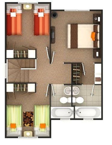 Plano segudo piso planos pinterest for Casa de dos plantas de 70 metros cuadrados