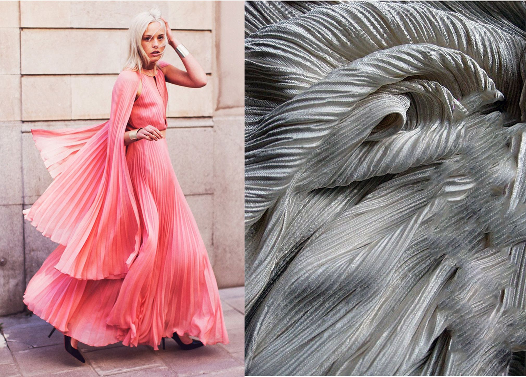 Permanently pleated fabric is achieved through heat ...