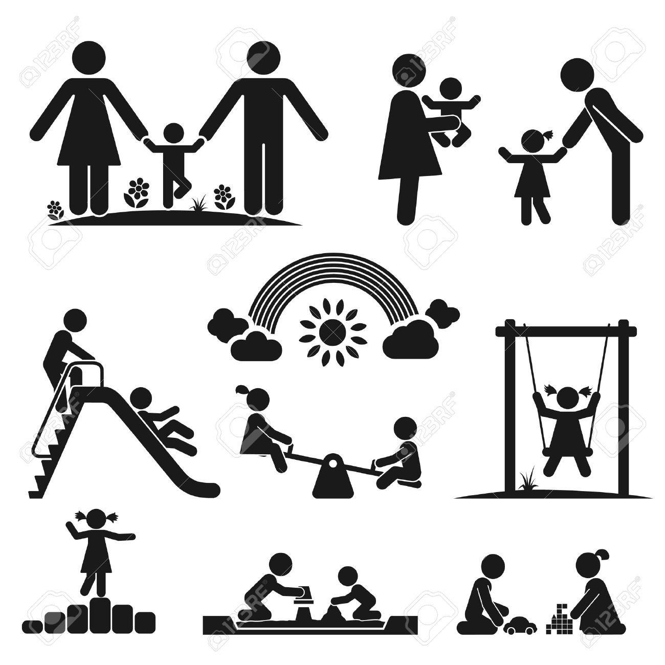Children play on playground Pictogram icon set , #AFF, #