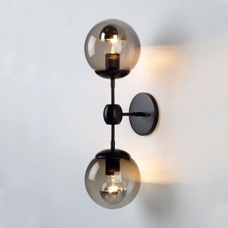 Modern Globe Wall Sconce Double Arms Glass Ball Wall Light Bubble