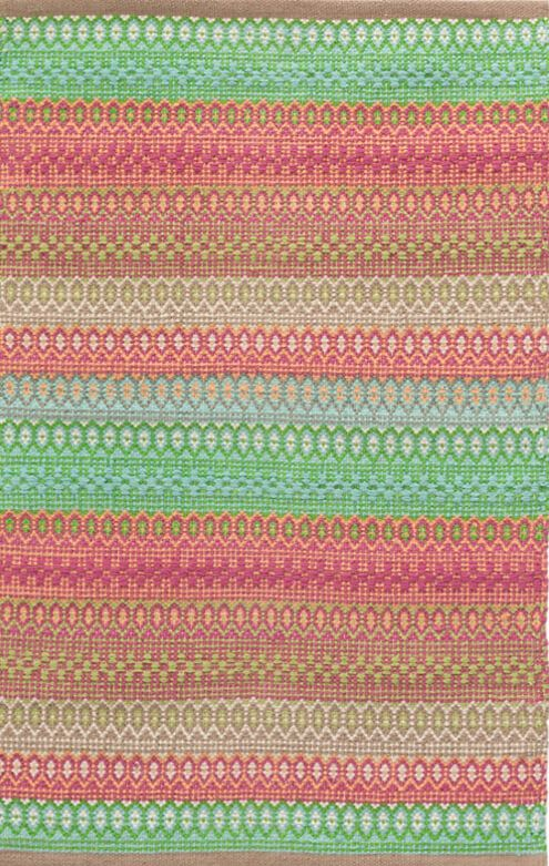 Gypsy Stripe Woven Cotton Rug in Pink/Green | Cotton, Bungalow and ...