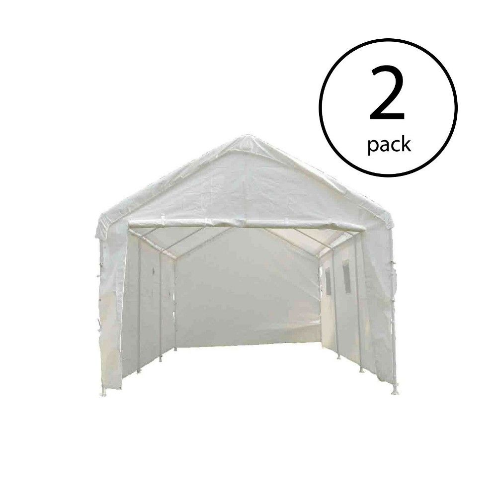 True Shelter White 10 X 20 Foot Universal Enclosed Event Storage Canopy 2 Pack Canopy Storage