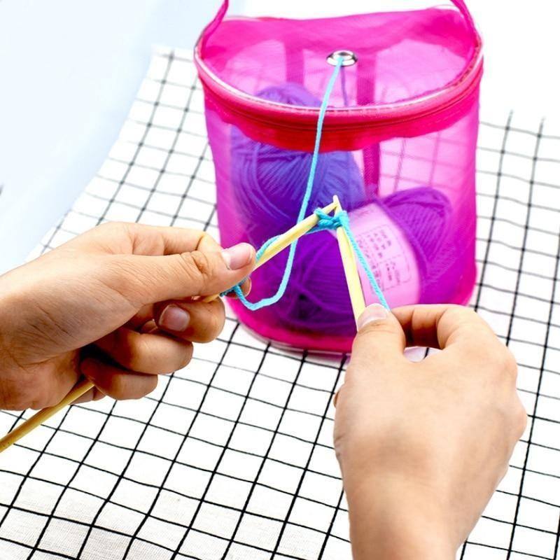 Yarn Bag Hollow DIY Storage Mesh Holder Baskets Storage Case Sewing Kit Bag