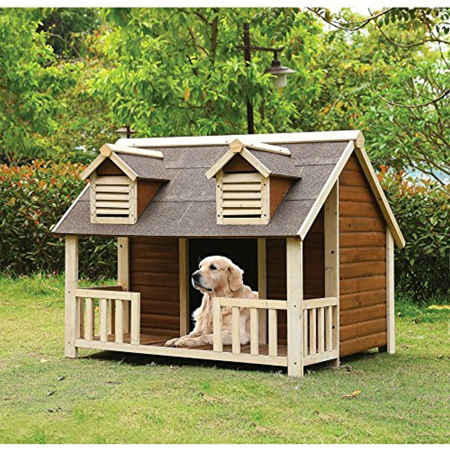 Medium Dog House With Porch Pet Puppy Wooden Outdoor Slanted Roof