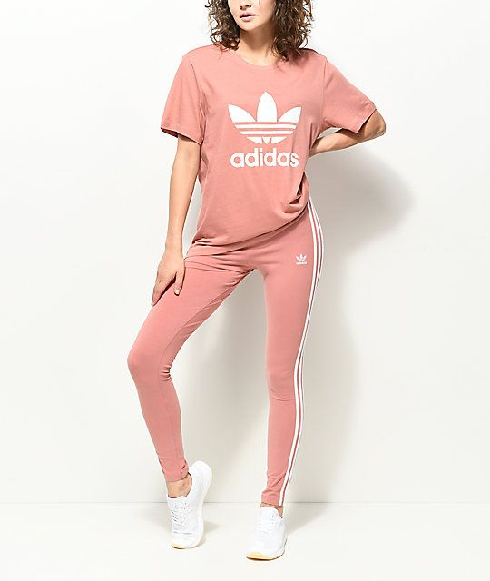 adidas leggings. adidas 3 stripe mauve leggings