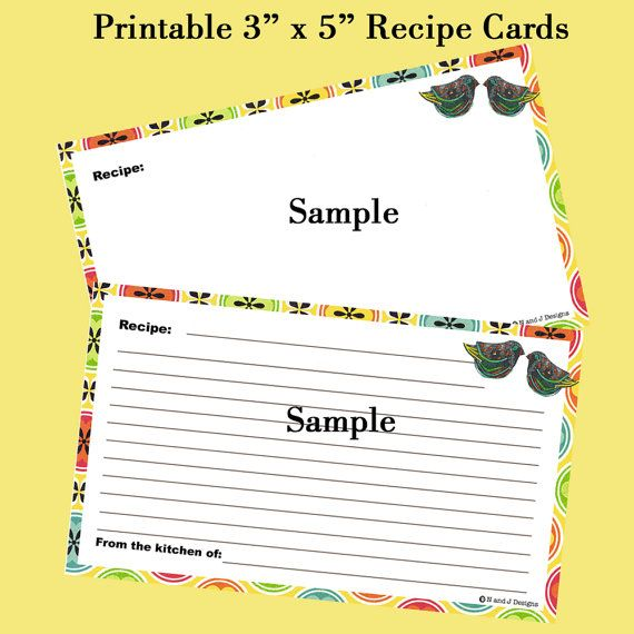 Recipe Card Printable  Editable Instant Download by NandJDesigns - recipe card