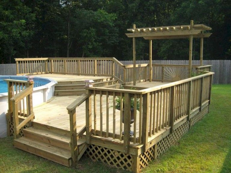 55 Beautiful Wooden Deck Design Ideas Swimming Pool Decks Above Ground Pool Decks Pool Deck Plans