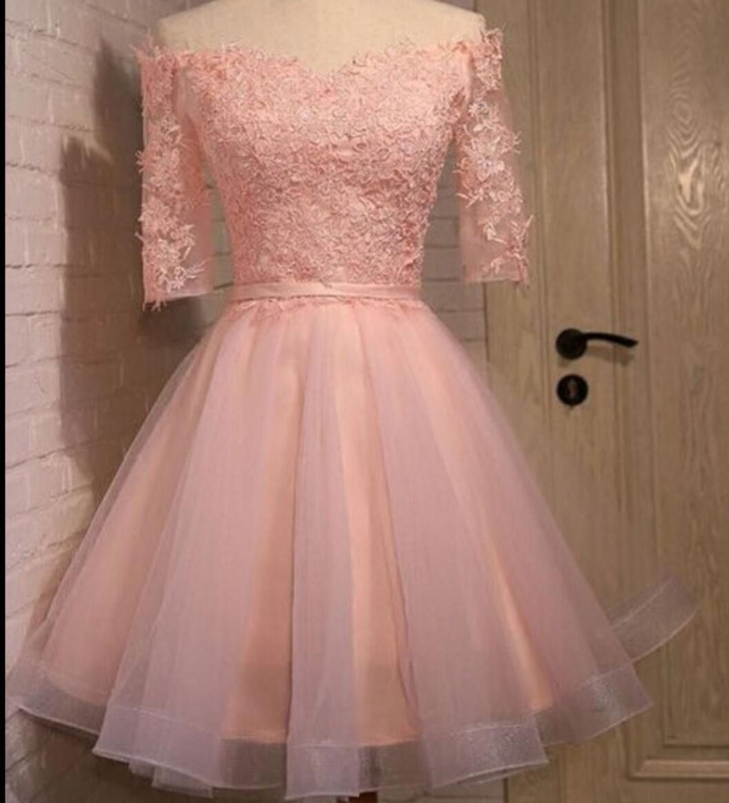 Long sleeve lace pink short homecoming prom dresses, CM0006 ...