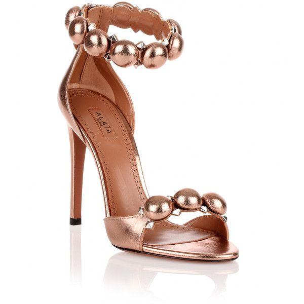 795373203 Alaïa Copper Metallic Leather Studded Sandal ( 1