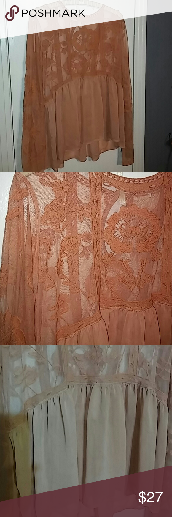 Sheer embroidered blouse Sheer embroidered blouse (never worn) Express Tops Blouses