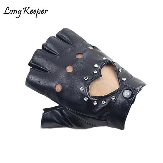 Rivet Punk Men Women Soft Leather Fingerless Driving Motorbicycle Biker Gloves