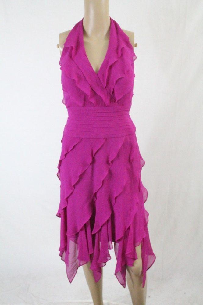 Tadashi Shoji $378 fuchsia purple pink silk tiered asymmetric ...