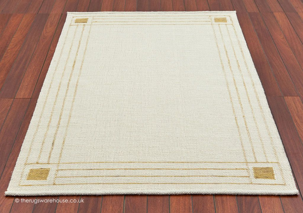 City Borders Ivory Gold Rug A Luxury Flat Woven Felted Wool Carpet With